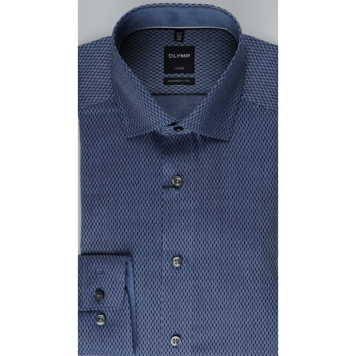 OLYMP Luxor Cotton Navy Pattern Shirt