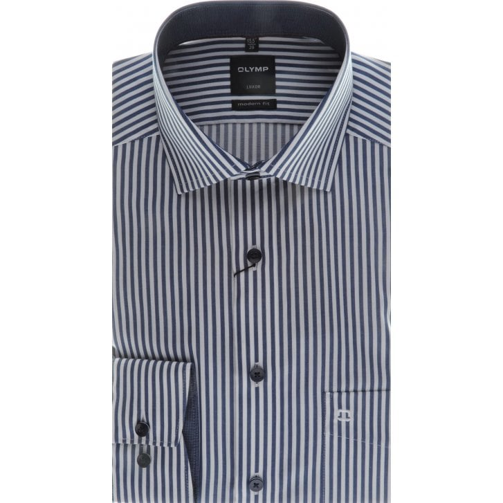 OLYMP Navy and White Bengal Stripe Cotton Shirt