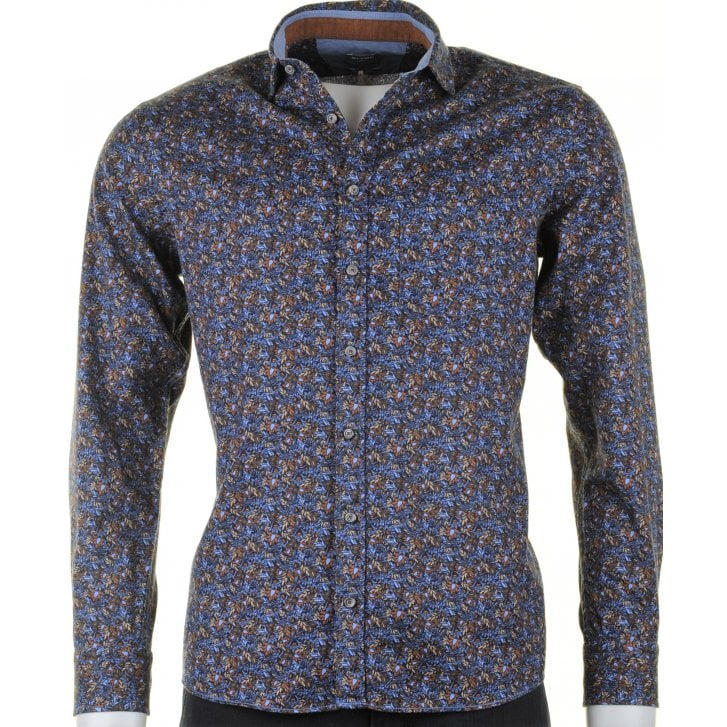 OLYMP Navy Floral Fine Soft Brushed Cotton Casual Shirt