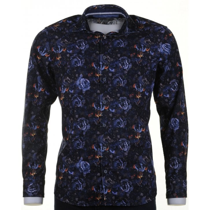 OLYMP Navy Floral Fine Soft Cord Cotton Casual Shirt