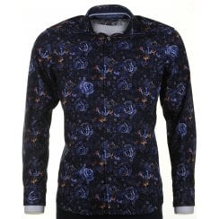 Navy Floral Fine Soft Cord Cotton Casual Shirt