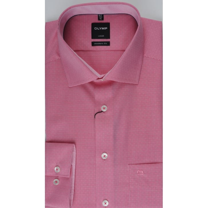 OLYMP Neat Patterned Pink Cotton Shirt