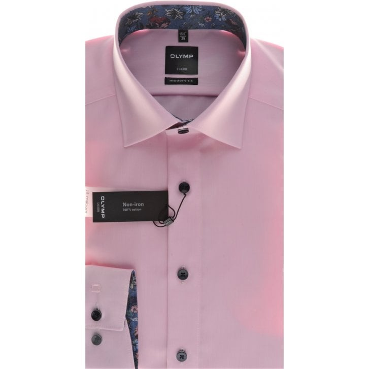 OLYMP Pink Cotton Shirt with Trim and Button Down Collar