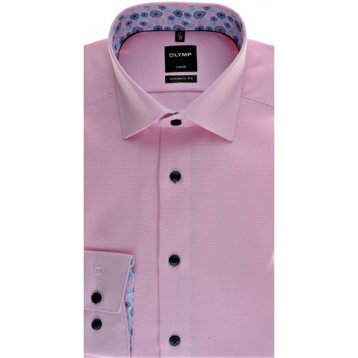OLYMP Pink Woven Cotton Button Down Collar Shirt