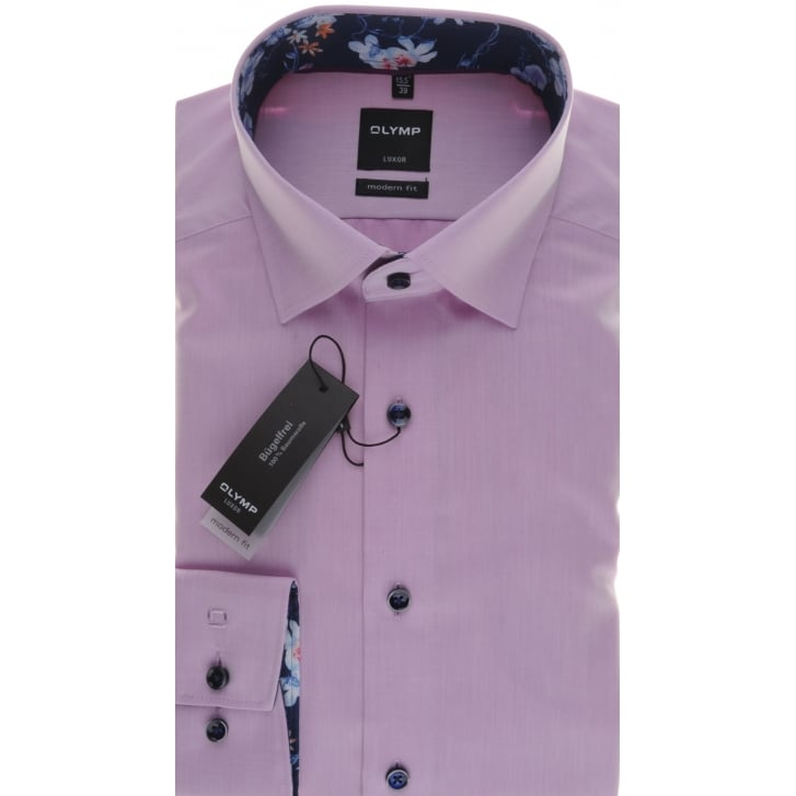 OLYMP Pinky Lilac Cotton Shirt with Button Under Collar