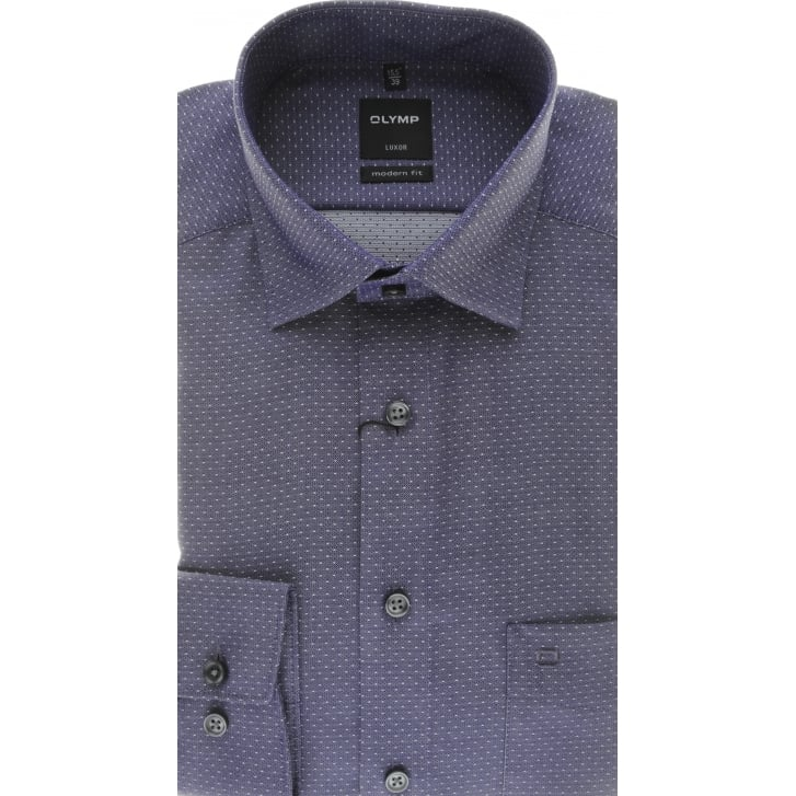 OLYMP Purple Luxor Cotton Shirt with Dots