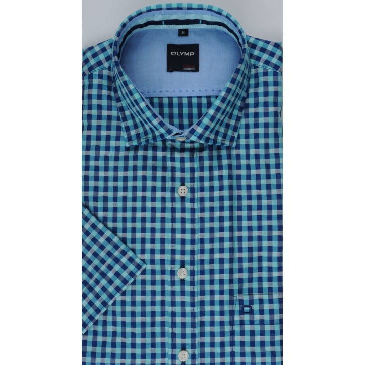 OLYMP Short Sleeved Gingham Checked Cotton Shirt