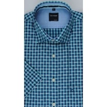 Short Sleeved Gingham Checked Cotton Shirt