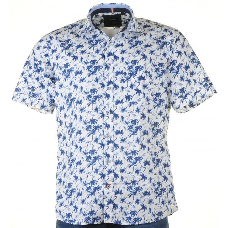 OLYMP Short Sleeved Soft Cotton Patterned Shirt