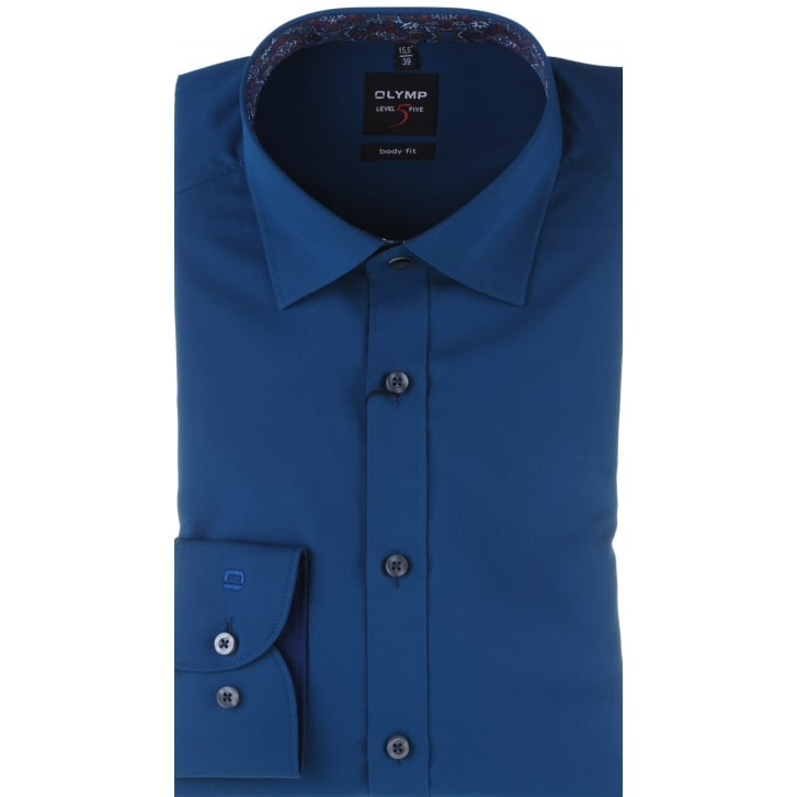 OLYMP Slim Cut Navy or Teal Cotton Stretch Shirt