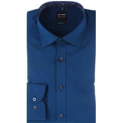 Slim Cut Navy or Teal Cotton Stretch Shirt