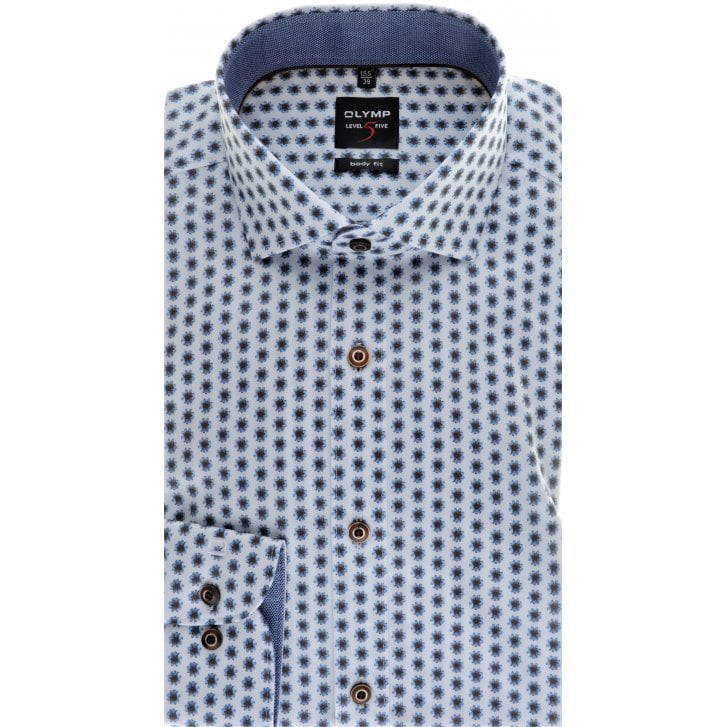 OLYMP Slim Fit Blue and Brown Floral Cotton Stretch Shirt