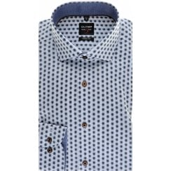 Slim Fit Blue and Brown Floral Cotton Stretch Shirt