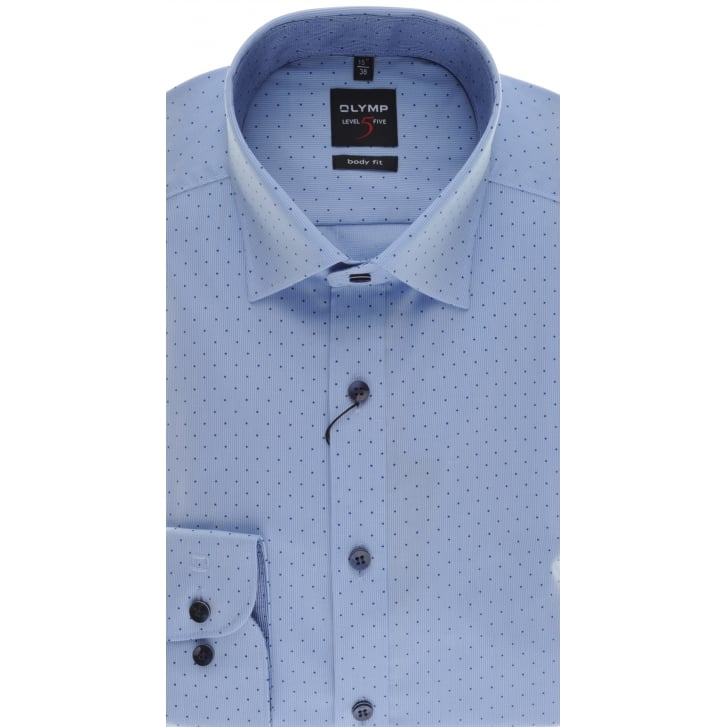 OLYMP Slim Fit Blue Cotton Spotted Shirt