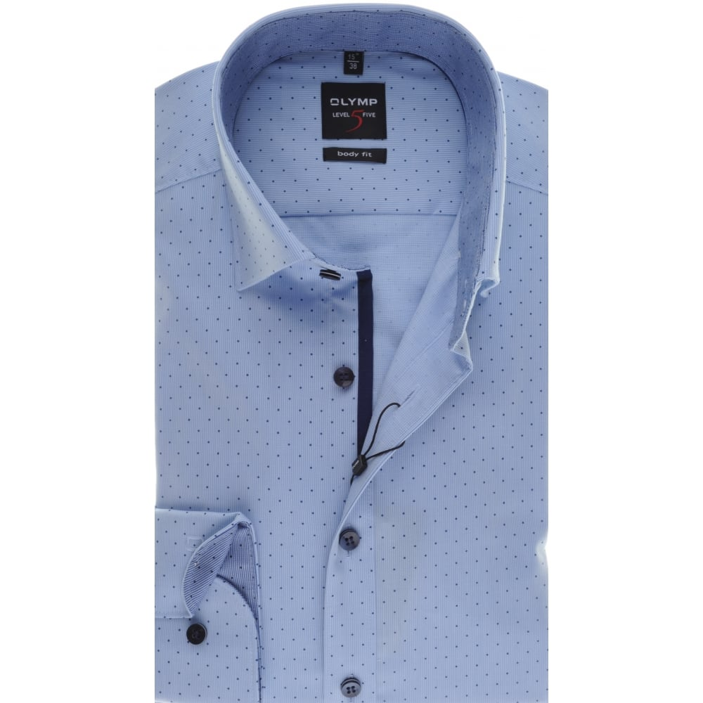 olymp blue spotted slim fit shirt from armstrongs of. Black Bedroom Furniture Sets. Home Design Ideas