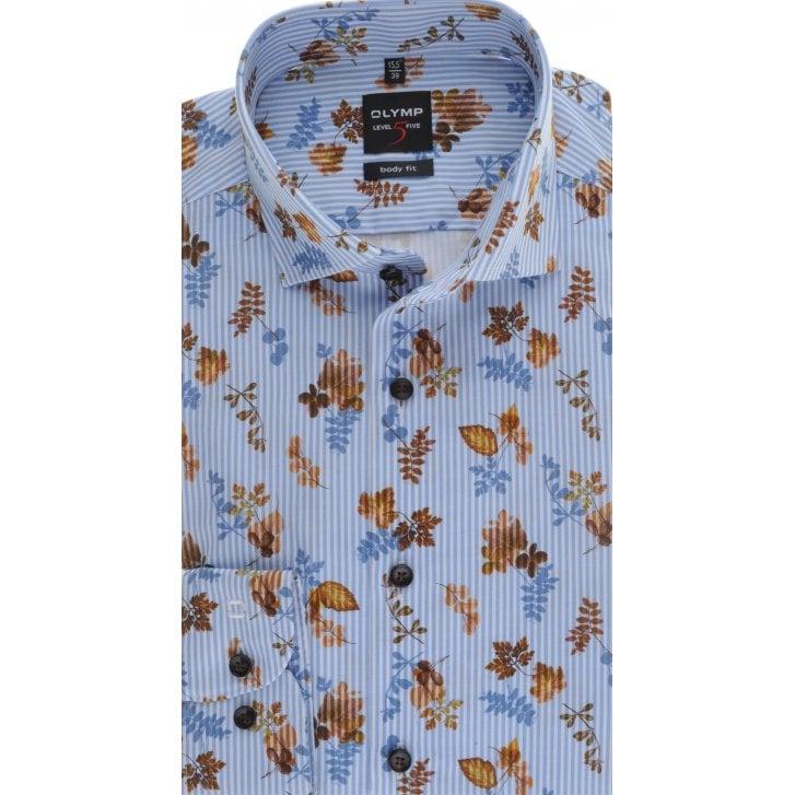 OLYMP Slim Fit Blue Stripe Shirt with Leaf Design
