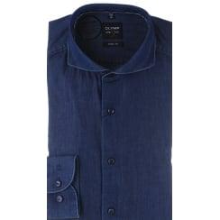 Slim Fit Denim Shirt with Cutaway Collar