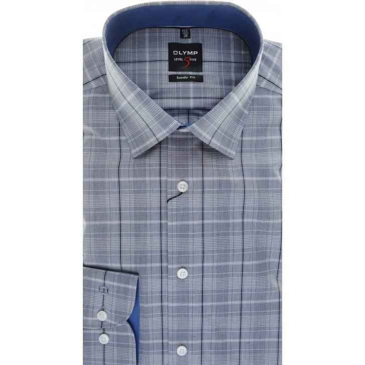 OLYMP Slim Fit Grey and Navy Check Shirt