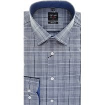Slim Fit Grey and Navy Check Shirt