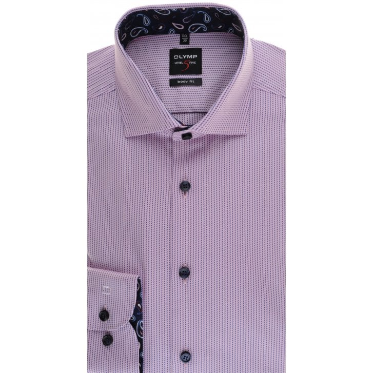 OLYMP Slim Fit Pink Shirt with PaisleyTrim