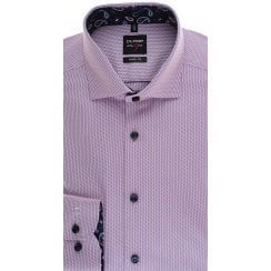 Slim Fit Pink Shirt with PaisleyTrim