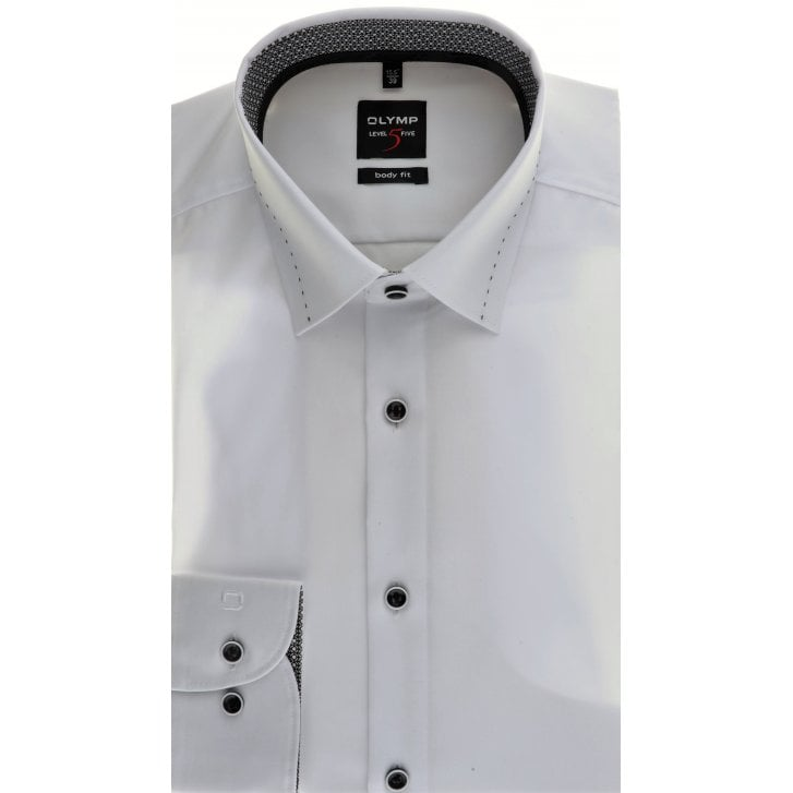 OLYMP Slim Fit White Shirt with Trim