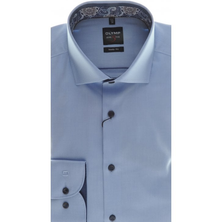 OLYMP Tailored Blue or White Cotton Twill Shirt
