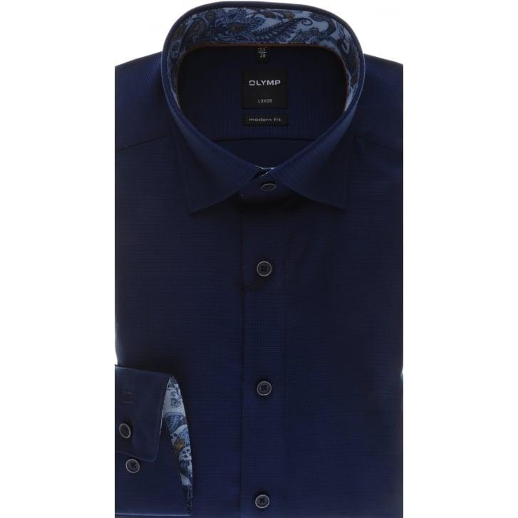 OLYMP Textured Non Iron Cotton Navy Shirt