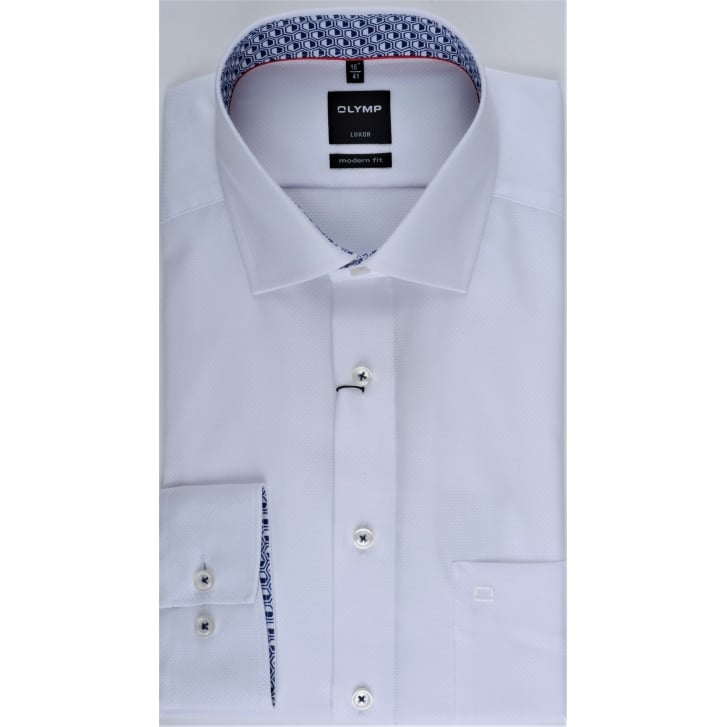 OLYMP Textured White Cotton Shirt with Trim