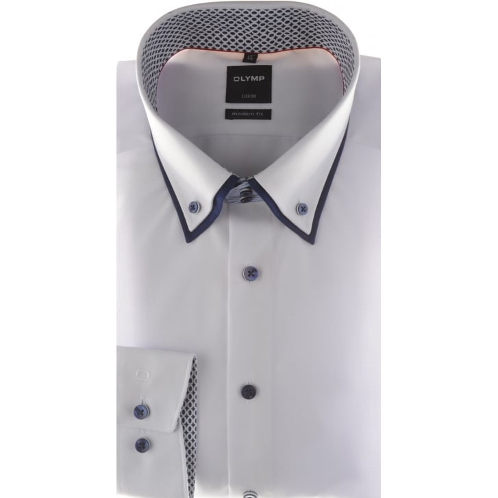 OLYMP White Cotton Shirt with Double Button Down Collar
