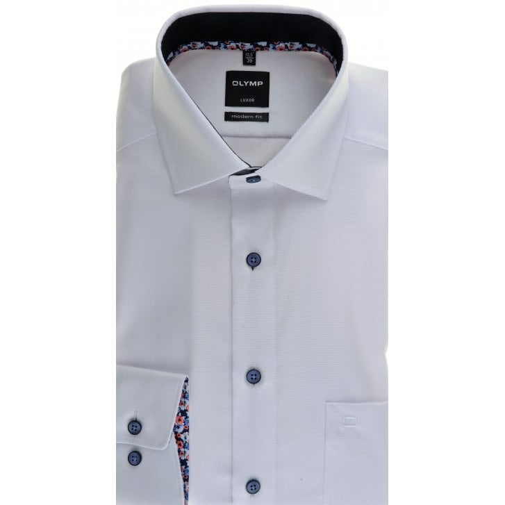 OLYMP White Self Pattern Easy Care Cotton Shirt