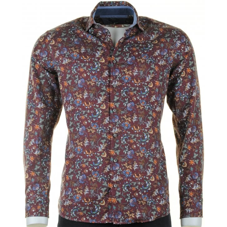 OLYMP Wine Floral Fine Soft Brushed Cotton Casual Shirt