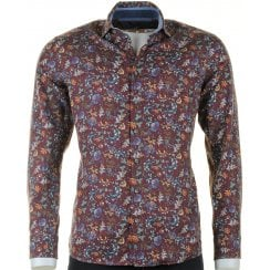 Wine Floral Fine Soft Brushed Cotton Casual Shirt