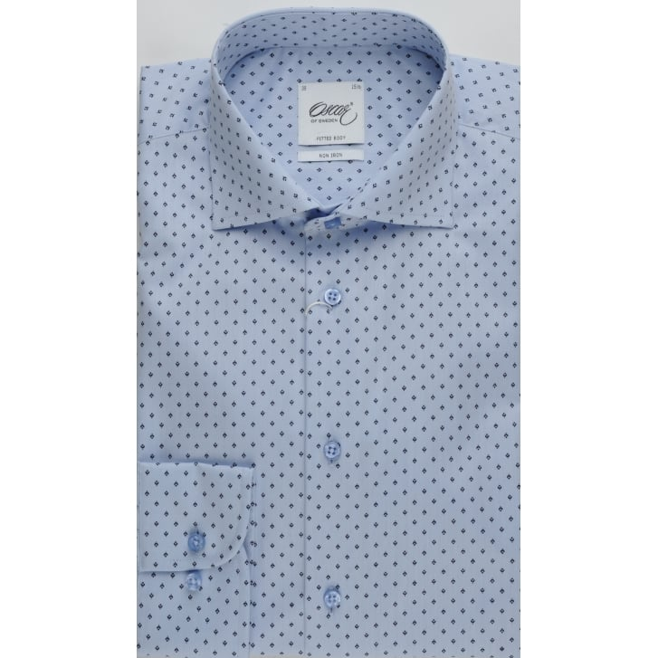 OSCAR Mens Cotton Blue Patterned Tailored Non Iron Shirt