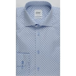 Mens Cotton Blue Patterned Tailored Non Iron Shirt