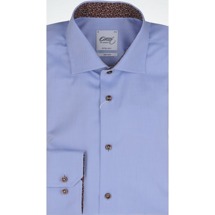 OSCAR Tailored Cotton Twill Shirt in Blue or White