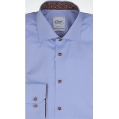 Tailored Cotton Twill Shirt in Blue or White