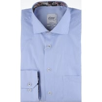 Tailored Non Iron Cotton Blue Striped Shirt