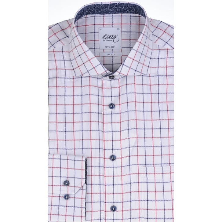 OSCAR Tailored Two Fold Cotton Twill Check Shirt