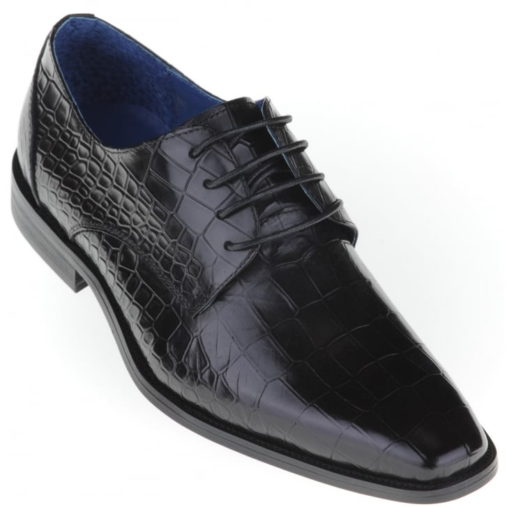 PAOLO VANDINI Black Lace Up Skin Effect Shoe