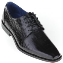 Black Lace Up Skin Effect Shoe