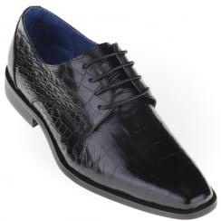 Black Lace Up Skin Effect Shoe