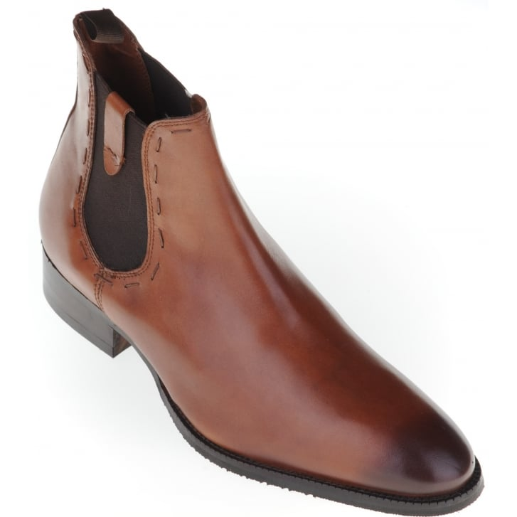 PAOLO VANDINI Classic Tan Chelsea Boot with Leather Uppers