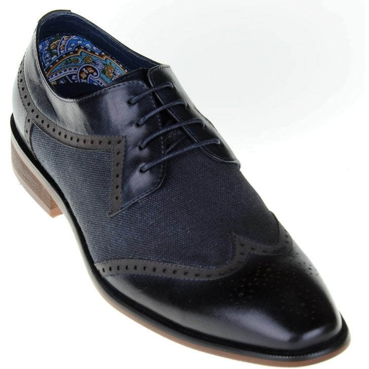 PAOLO VANDINI Leather and Canvas Navy Brogue