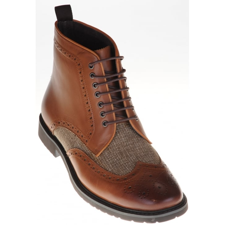 PAOLO VANDINI Leather Brogue Style Boot with Tweed Inlay