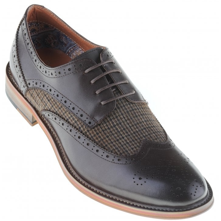 PAOLO VANDINI Leather Brogue Style Shoe with Tweed Inlay in Brown