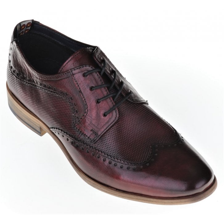 PAOLO VANDINI Leather Wine Brogue with Pattern Insert