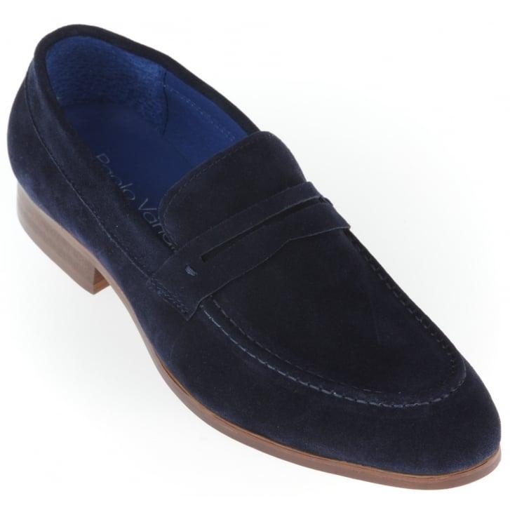 PAOLO VANDINI Navy Suede Slip on Shoe