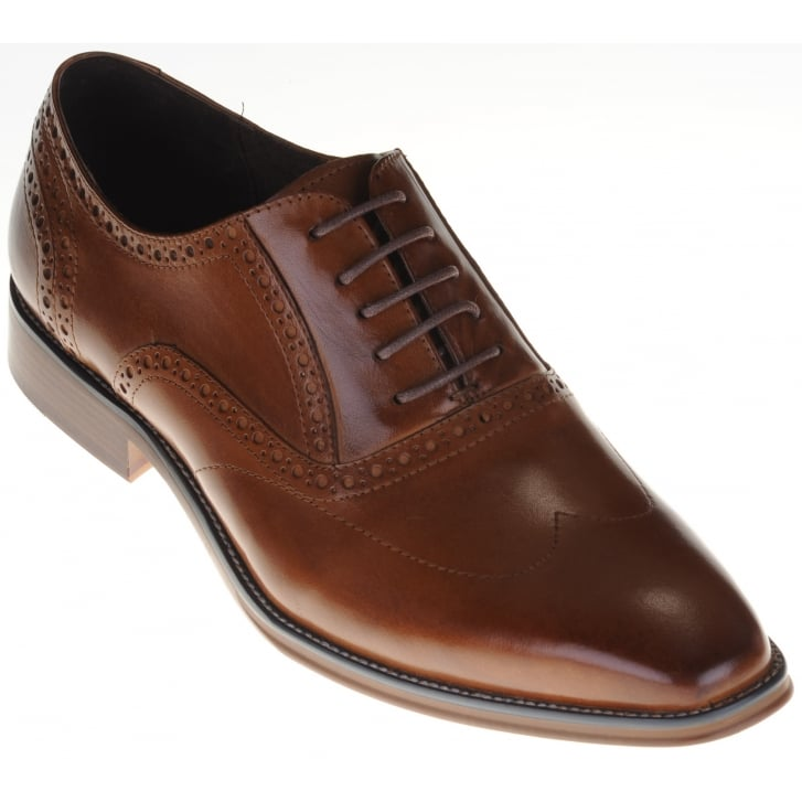 PAOLO VANDINI Smart Tan Lace Up Brogue Style Shoe
