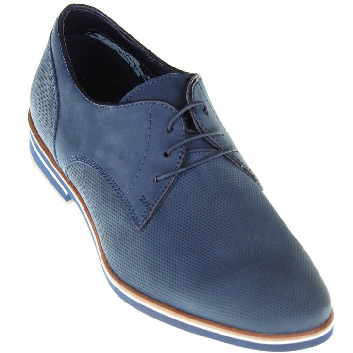 PAOLO VANDINI Stylish Lace up Blue Shoe with Textured Uppers